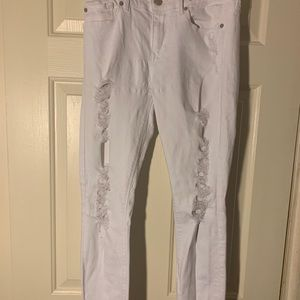 Express White Distressed Jeggings